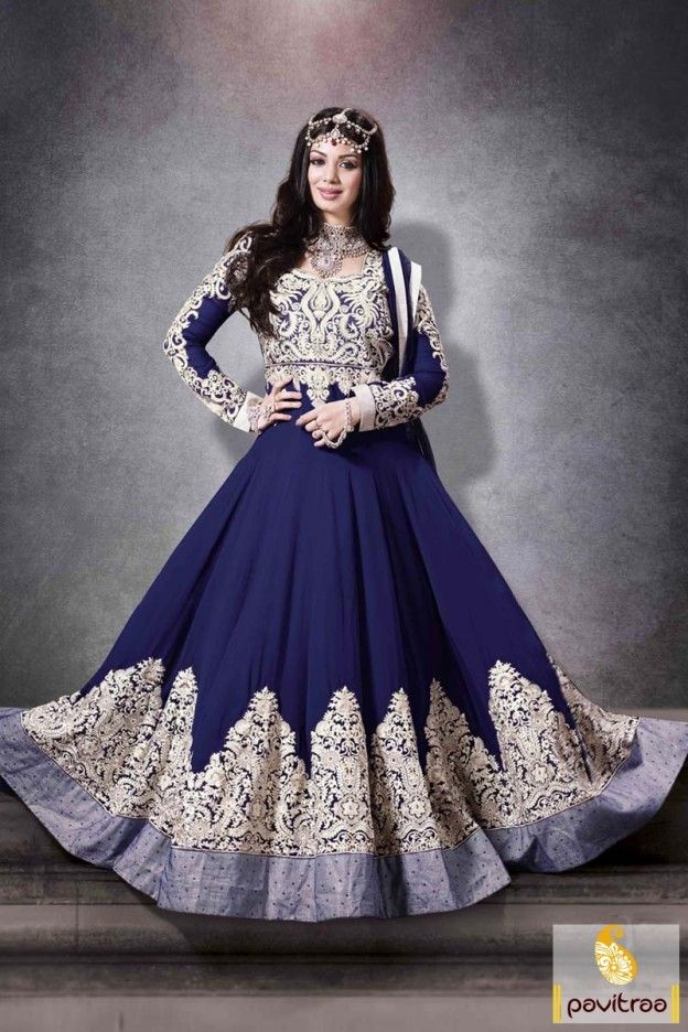 Blue georgette and semi-stitched floor length Anarkali Salwar suit with decorated fancy embroidery on full sleeves and fully dress.