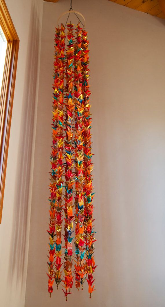 10 foot waterfall of 1001 cranes, red orange, fire, Senbazuru, one of a kind handmade crane mobile. 1000 cranes plus one.
