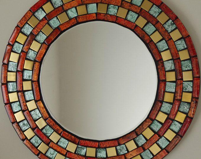 Mosaico hecho a mano hermoso espejo biselado borde oro rojo y verde Azulejo mosaico de vidrio