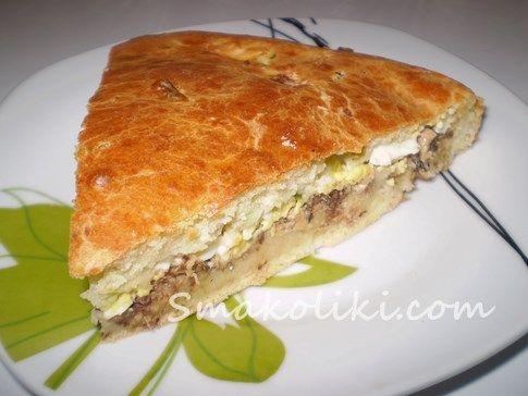 Заливной пирог на кефире с яйцом и консервированной рыбой. Пошаговый рецепт с фото на Smakoliki.com