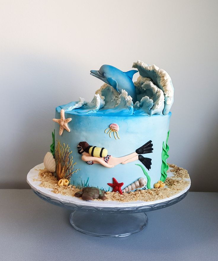 Kekperest, dolphin cake, underwater, sualtı, yunus, dalga, waves Birthday cake, Cake topper, handmade fondant, seker hamuru, cake art sugar figurine, butik pasta, tortas, creative cakes, tortas, kuchen, edible art, kids cake