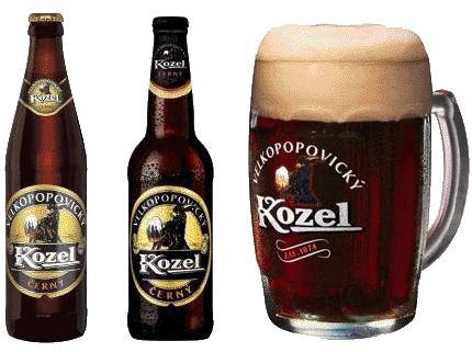 The world-renown Czech beers (pivo): Kozel