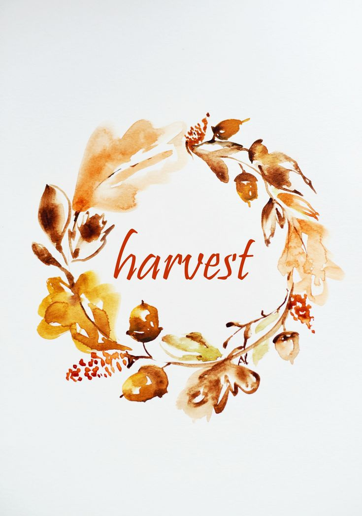 Pretty and elegant watercolor harvest printable for fall and Thanksgiving