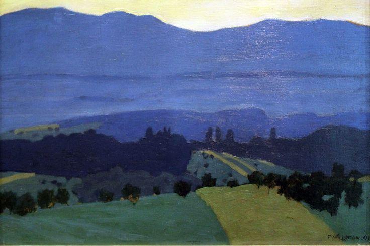 Félix Vallotton, Landscape in the Jura Mountains (1900), oil on cardboard, 49.5 x 32cm. Collection of Städelsches Kunstinstitut und Städtische Galerie, Frankfurt, Germany. Via Wikimedia Commons.
