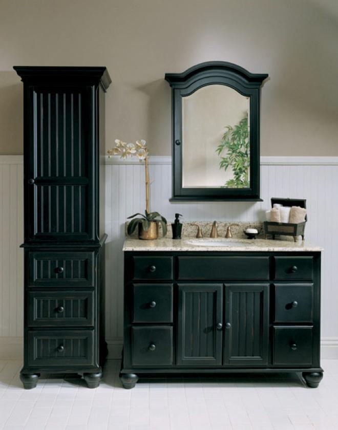 Best Photo Gallery For Website Black bathroom vanity set I love the side piece for towels makeup storage