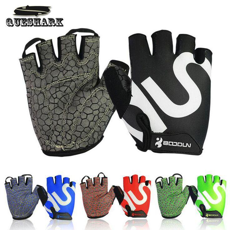 Queshark男性女性ジム手袋ボディビルハーフフィンガーフィットネス手袋をスリップウエイトリフティングスポーツトレーニング指なし手袋