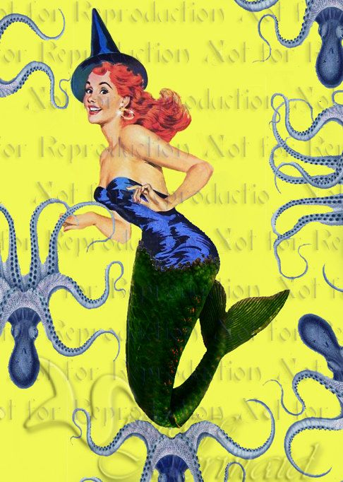 phm12 HALLOWEEN FABRIC Mermaid Fabric by wwwvintagemermaidcom, $3.00