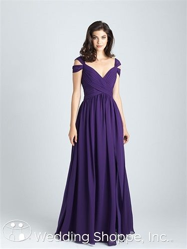 A long chiffon bridesmaid dress with an off-the-shoulder v-neckline.