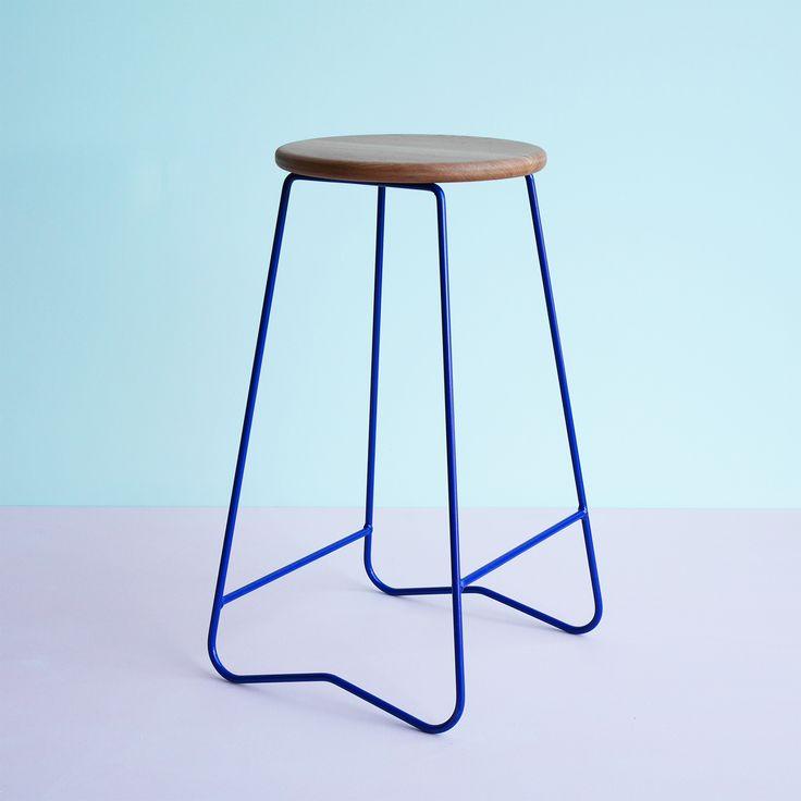 HOPA BLU bar stool  American Oak seat on space blue steel frame  Made in Melbourne