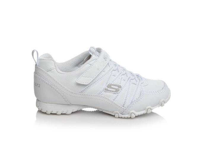 Girls' Skechers Biker II School Star 10.5-5 White/Silver | Shoe Carnival