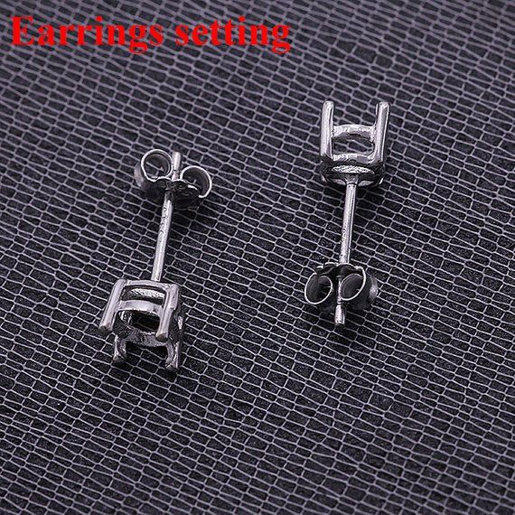 Square 4Mm Basic Ear Studs 925 Sterling Silver With Handmade Prong Setting For Women and Girls