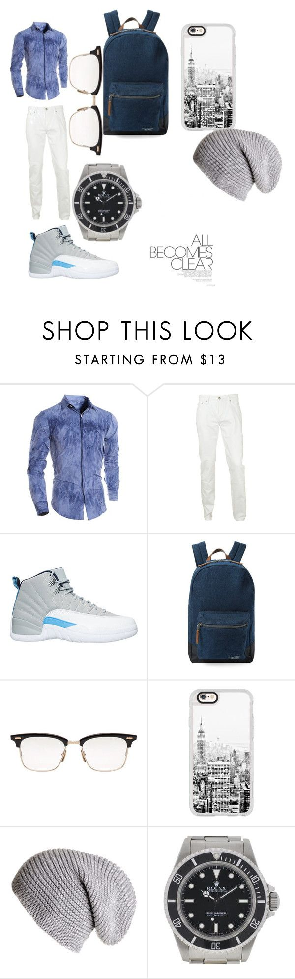 """""""all becomes clear"""" by springcece ❤ liked on Polyvore featuring Burberry, NIKE, Original Penguin, Thom Browne, Casetify, Black, Rolex, men's fashion and menswear"""