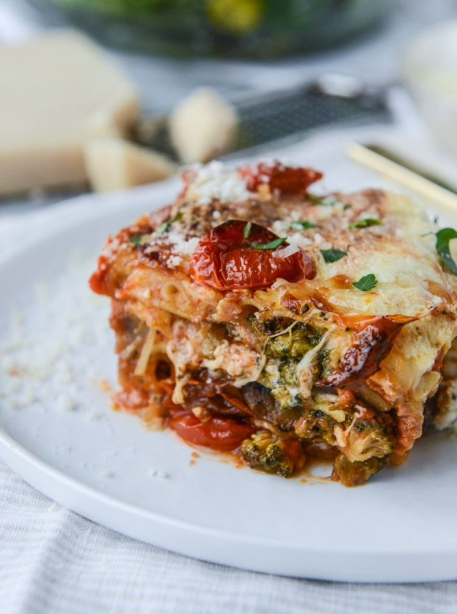 roasted vegetable lasagna with burrata I howsweeteats.com