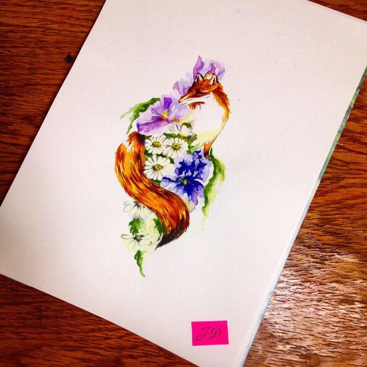 Irisfox#jdtattoostudio #tattoo   #fox #лиса #iris #ирис #эскиз #акварель #watercolor #aquarelle #sketch #jd #тату #татуировка