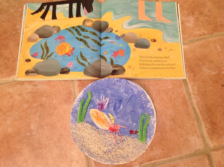 Julia Donaldson Sharing A Shell inspired craft. Paper plate, pudding rice, pipe cleaners, stars and hand drawn shell, crab, anemone and bristle worm.  My 3yo loved this book so much!