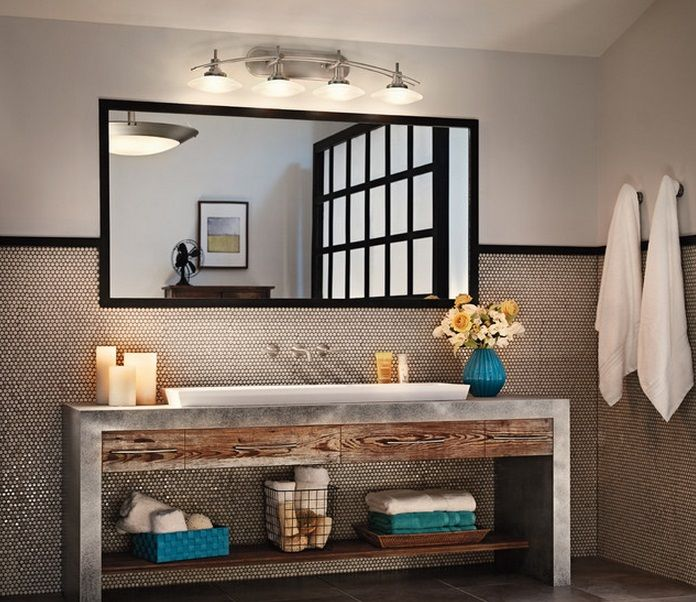 Kichler Lighting Structures Collection Four Light Wall Mount Industrial Bathroomloft