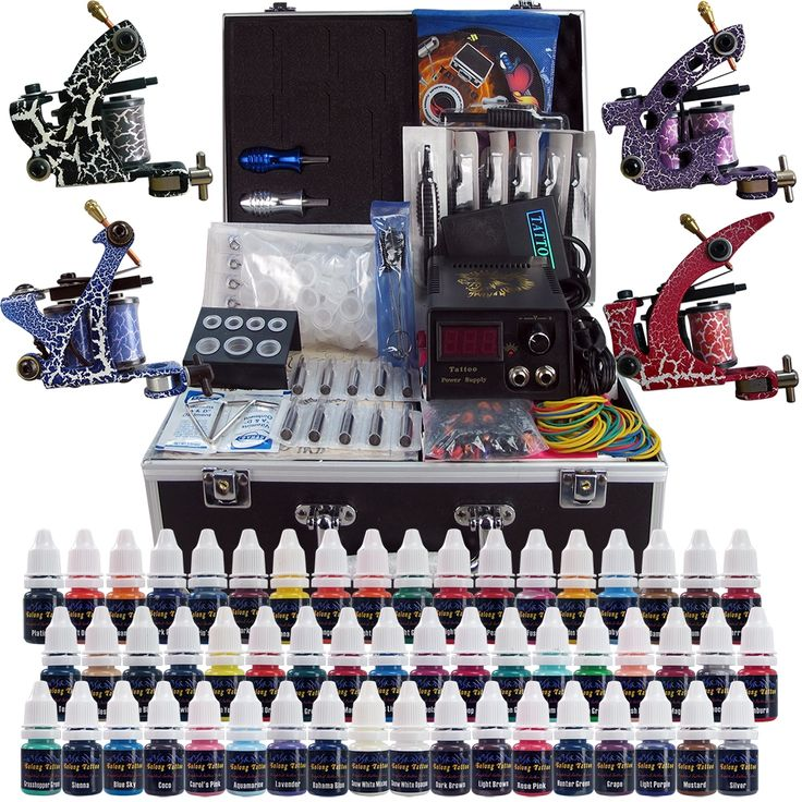 41.25$  Buy here - http://aitpo.worlditems.win/all/product.php?id=2030201392 - Complete Tattoo Kit 4 Professional Tattoo Machine Kit Coil Machine Guns 54 Inks Power Supply Needle Grips Fast Shipping TK456