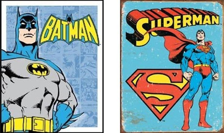 Vintage Tin Signs: Batman and Superman