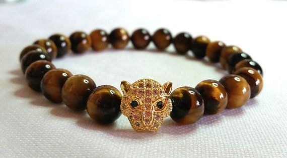 Genuine Tiger's Eye beads bracelet with Gold plated