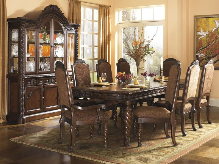 NORTH SHORE - DARK BROWN TRADITIONAL RECTANGULAR EXT TABLE SET 9PC DINING ROOM in Home & Garden, Furniture, Dining Sets | eBay