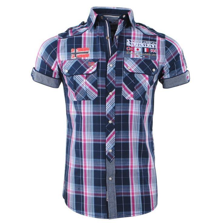 Geographical Norway - Men's Short Sleeve Shirt - Zempola - Navy - Moda Italia