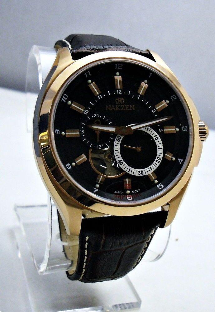 Nakzen Men's Stainless Open Heart Automatic Wristwatch Sapphire Crystal #Nakzen #Luxury