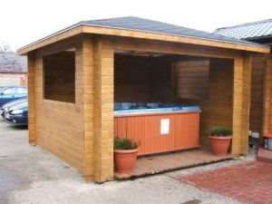 32 best hot tub privacy spa enclosures images on for Hot tub enclosures plans