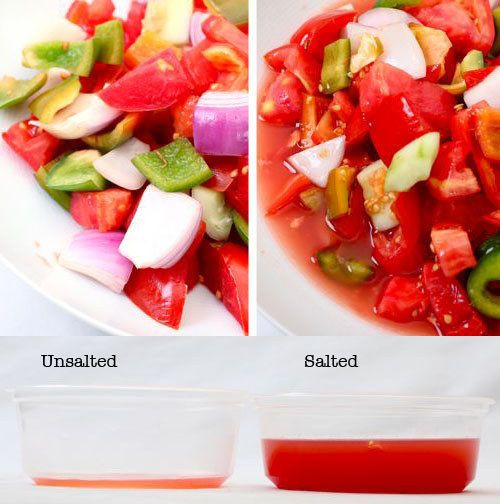 "Before adding juicy vegetables to a salad, lightly salt them to brighten the taste of the salad without making it ""salty."" 