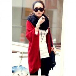 $6.45 Modern Style Collarless Cardigan Design Solid Color Batwing Red Knitting Sweater For Women