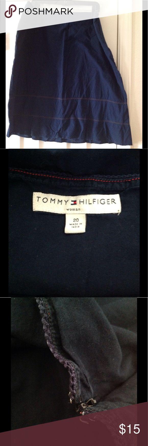 TOMMY HILFIGER NAVY BLUE SIZE 20 BOHO SKIRT BOHO/COTTON SKIRT NAVY BLUE BY TOMMY HILFIGER SIZE 20 Tommy Hilfiger Skirts Midi