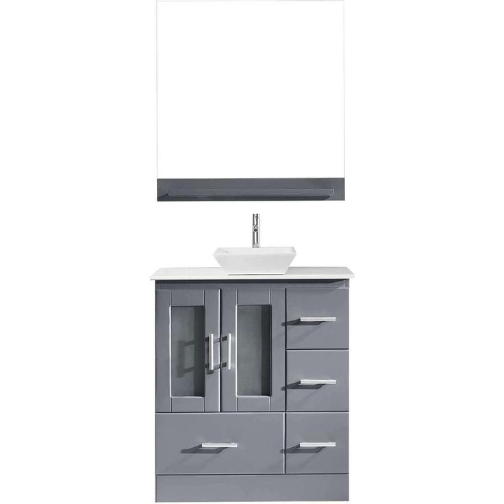 Virtu USA Zola 30 in. W x 19 in. D Vanity in Grey with Engineered Stone Vanity Top in White with White Basin and Mirror