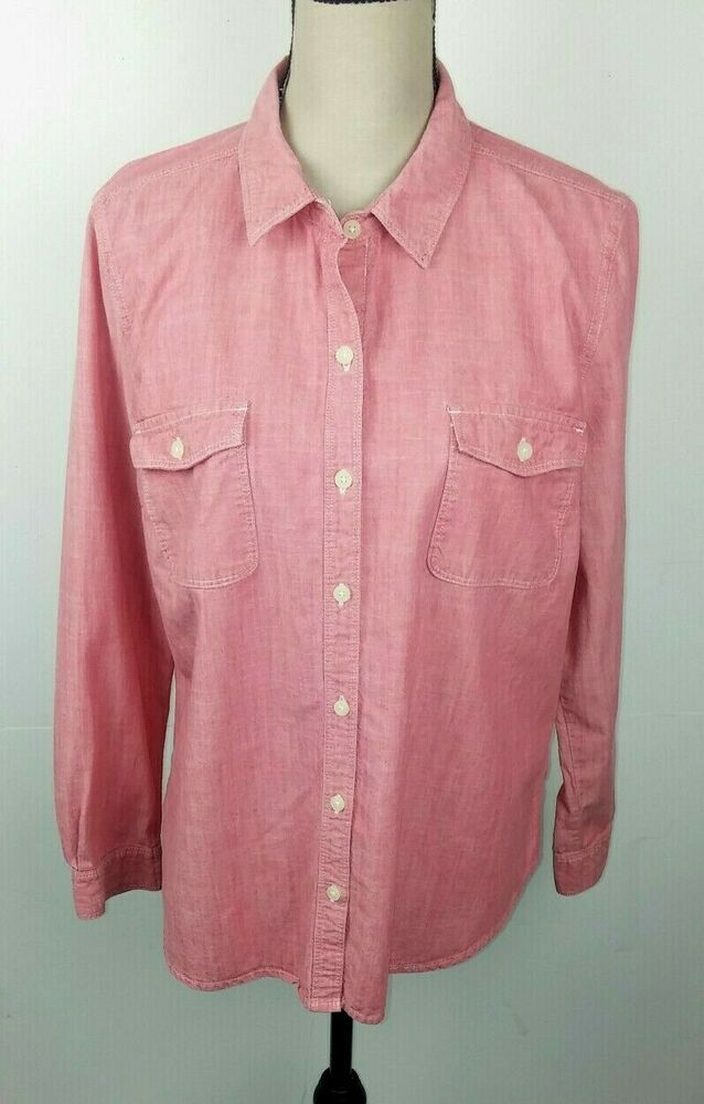 86c292d8 Old Navy Women's Large Shirt Button Front Red Chambray Collared Long Sleeve  #OldNavy #Blouse #Casual