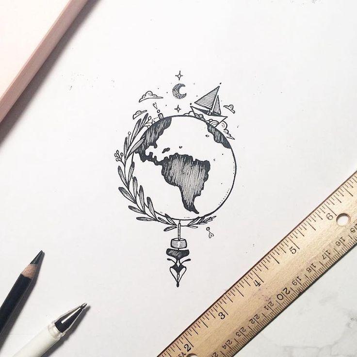 dessin tatouage à thème voyage pour les globe-trotteurs