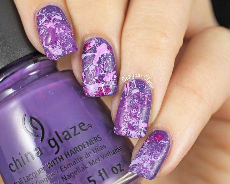 Copycat Claws: 31DC2014 Day 6 - Purple Splatter Nails