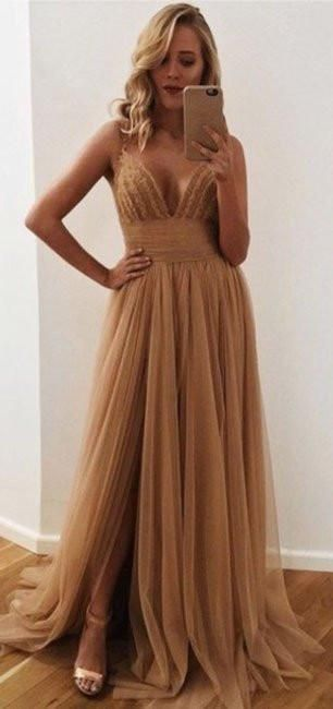 Leg Slit Prom Dresses, V-neck Prom Dress,Sexy Prom Dress,Modern Prom Dress,2017 Prom Dress,PD0065