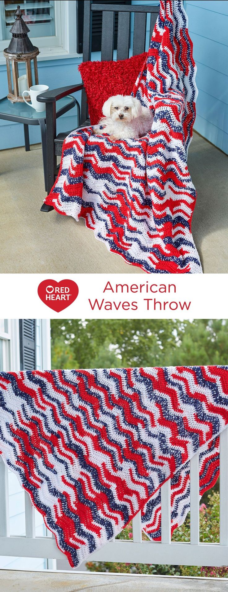 American Waves Throw Free Crochet Pattern in Red Heart Yarns -- From sea to shining sea, here's a throw to please every American! It's the perfect choice to crochet as a gift to those who are serving in our military or have served in the past. This yarn changes color for you, so there are very few ends to weave in and your crochet will move along smoothly.