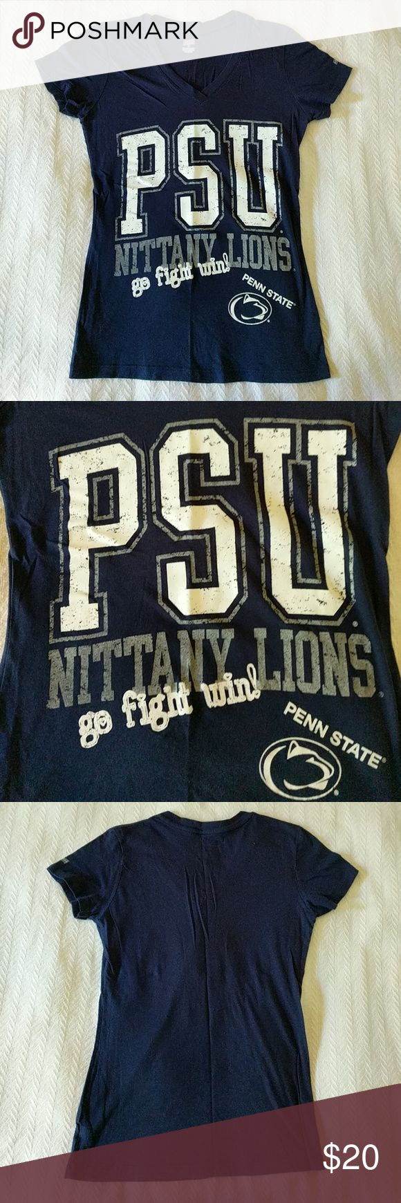 "Penn State PSU Nittany Lions V-Neck T-Shirt Penn State PSU Nittany Lions V-Neck T-shirt.    Flat lay measurements approximately: 25"" long, 16"" bust, 15"" natural waist, 16"" hips.  Excellent condition. No rips, stains, or imperfections. Smoke free house. Soffe Tops Tees - Short Sleeve"