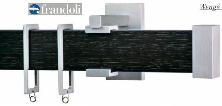 Bastone per tende in alluminio rivestito in legno con anelle rettangolari . Mod. SHAPE