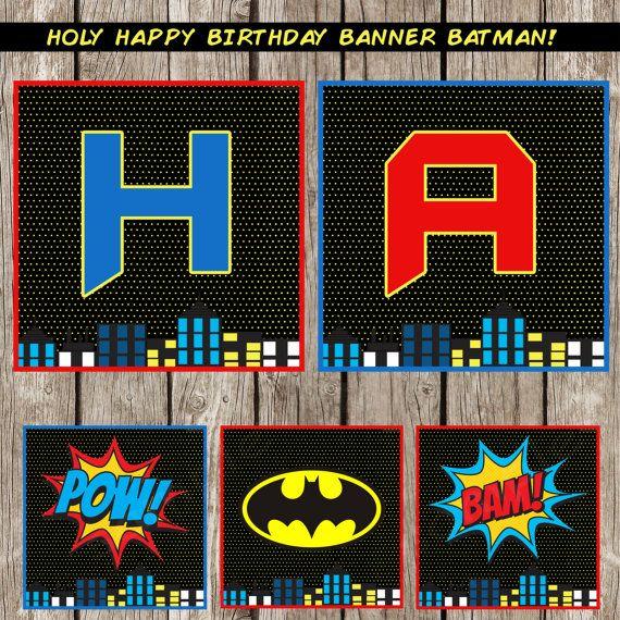 Retro Batman Happy Birthday Banner - Batman SuperHero Birthday Party - DIY Printable