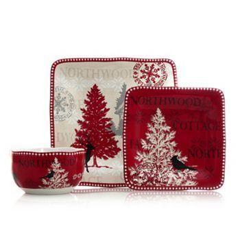Jídelní sada * červeno bílý porcelán se zimním motivem.