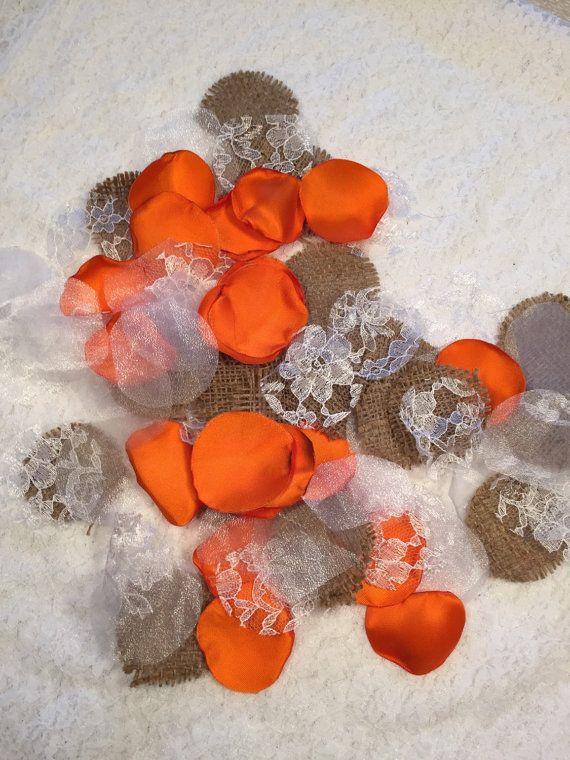 Orange Country Rose Petals/Orange Satin by GardenRosePartyDecor
