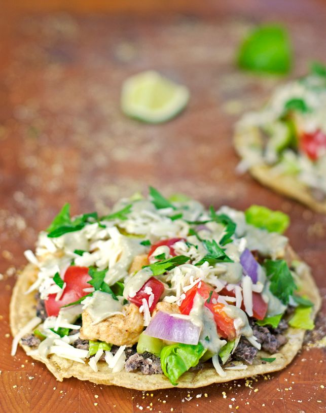 Black Bean Tostadas with Avocado Cream Sauce | Recipe | Black, Beans ...
