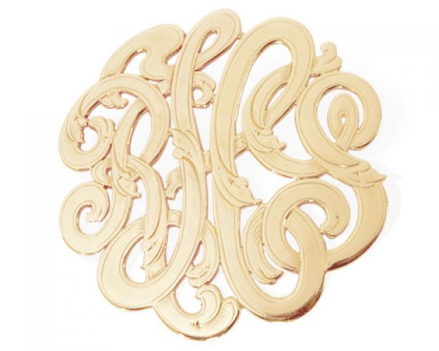 Rich in style and opulent in its appeal, our monogram hand cut and engraved initial pin is sure to be an attention grabber. The soft curves of the letters will delight you and the intricate detail engraved in the pin is a visual please for all who see you wear this unique one of a kind piece. Each pin measures one and a half inches and is crafted in 14 karat yellow gold. Please allow 5-6 weeks for crafting! Current price, subject to change!