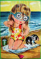Googly eyed girl postcard