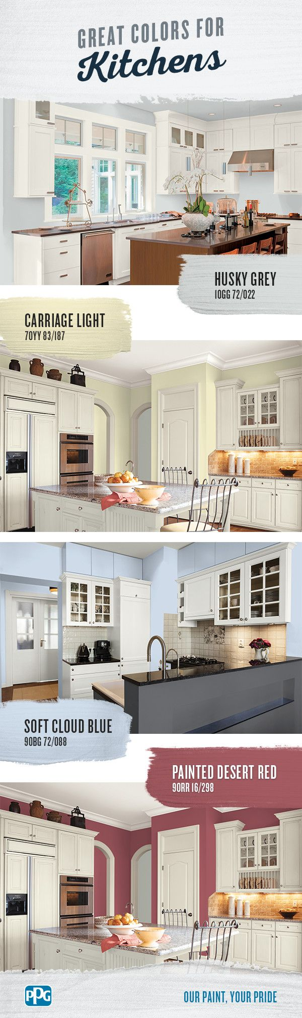 Great Colors for Kitchens | With so many paint colors for kitchens, it can be hard to choose the right one for your home. Follow our guide for 4 fun kitchen paint color options for every decorating aesthetic.