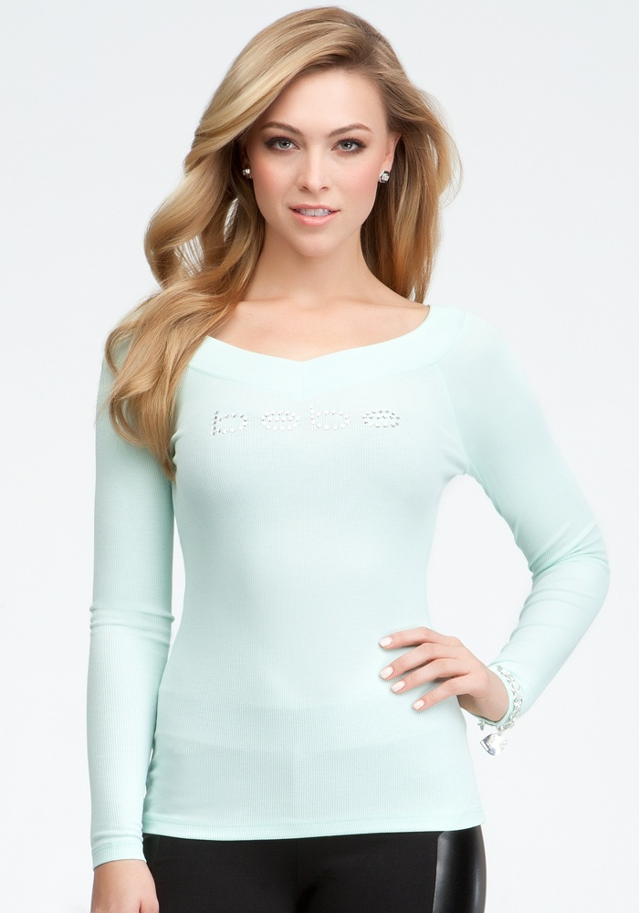 Logo Long Sleeve V-Neck Rib Tee - Honeydew - Xs