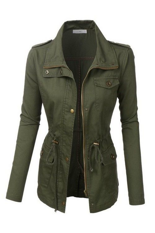 The perfect mid thigh jacket for fall. Pair with your favorite boots and jeans. Lightweight, soft cotton material for the ultimate in comfort and chic design. Zip up and snap button closure. 2 Front b