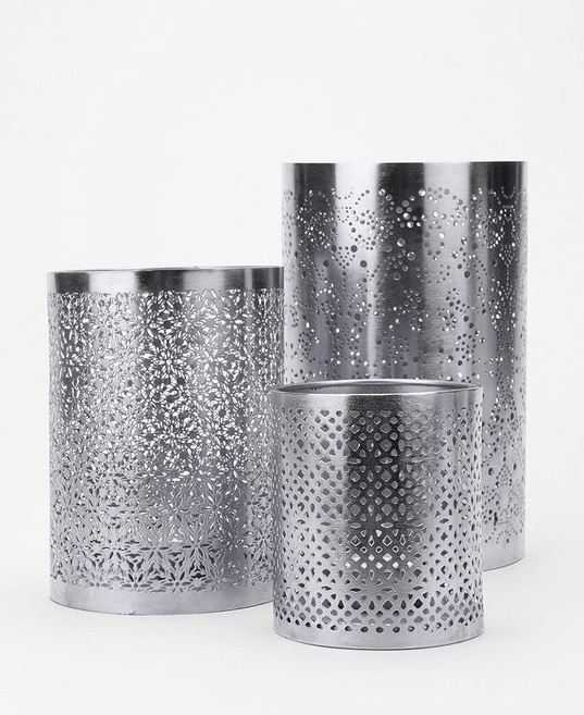 168 best images about silver on pinterest textured - Punched metal candle holder ...