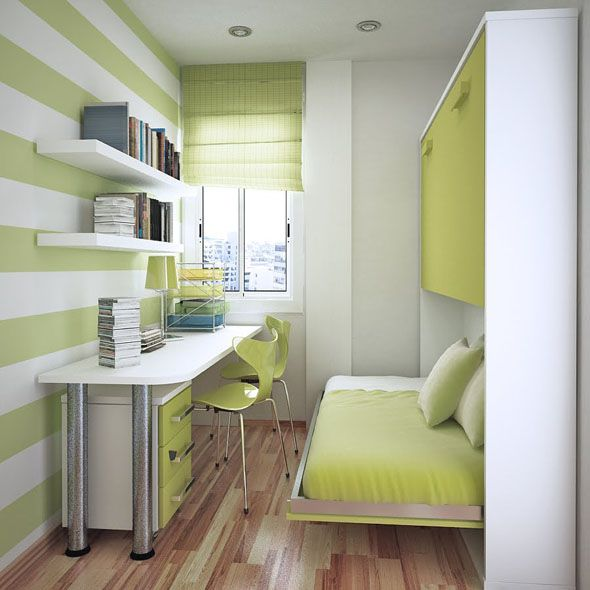 narrow room with folding wall bed