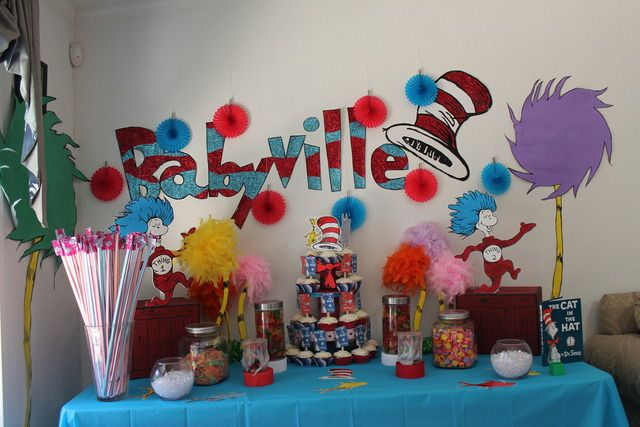 """Dr. Seuss baby shower - KELBY - What about doing a different book theme for each """"station"""". Like, one for food table, one for dessert table, one for drink table, photo booth, welcome area, entrance, fireplace area, etc."""